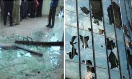 PTI rioters pelt Geo offices with stones